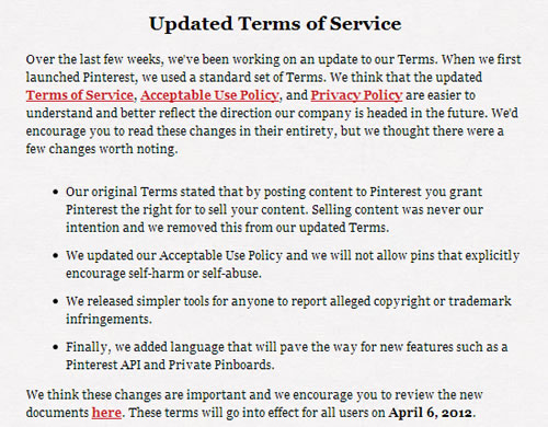 Pinterest new Terms of Service